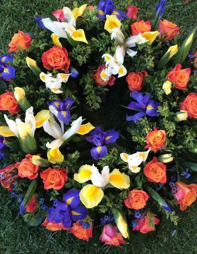 Blue yellow & orange wreath