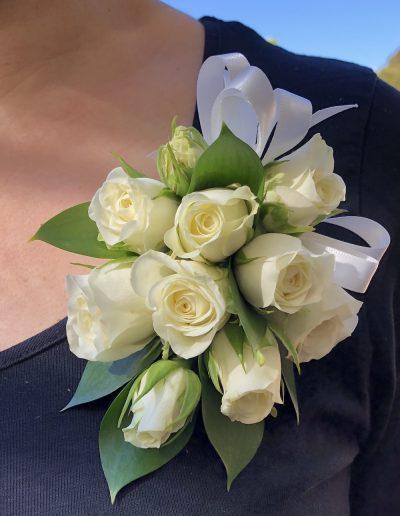 Ivory Spray Rose Shoulder Spray Corsage